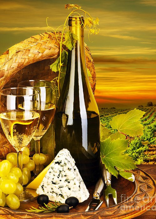 Still Life Greeting Card featuring the photograph Wine And Cheese Romantic Dinner Outdoor by Anna Om