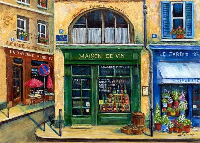 French Street Scene Greeting Card featuring the painting Wine And Flowers by Marilyn Dunlap