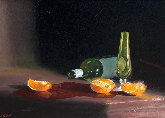 Still Life Greeting Card featuring the painting Wine And Oranges by Greg Clibon