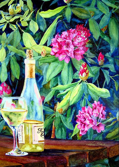 Rhododendron Greeting Card featuring the painting Wine And Rhodies by Karen Stark