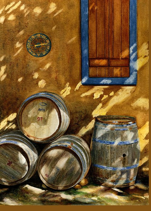 Wine Greeting Card featuring the painting Wine Barrels by Karen Fleschler