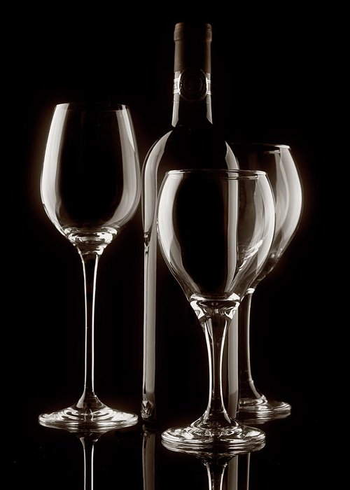 Alcohol Greeting Card featuring the photograph Wine Bottle And Wineglasses Silhouette II by Tom Mc Nemar
