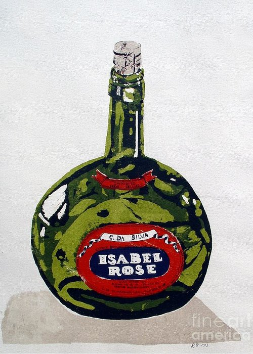 Silk Screen Greeting Card featuring the mixed media Wine Bottle by Ron Bissett