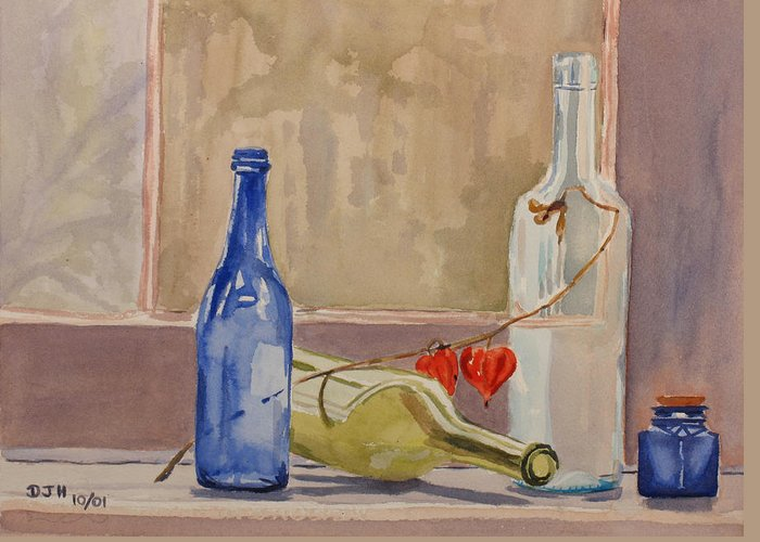 Wine Greeting Card featuring the painting Wine Bottles On Shelf by Debbie Homewood