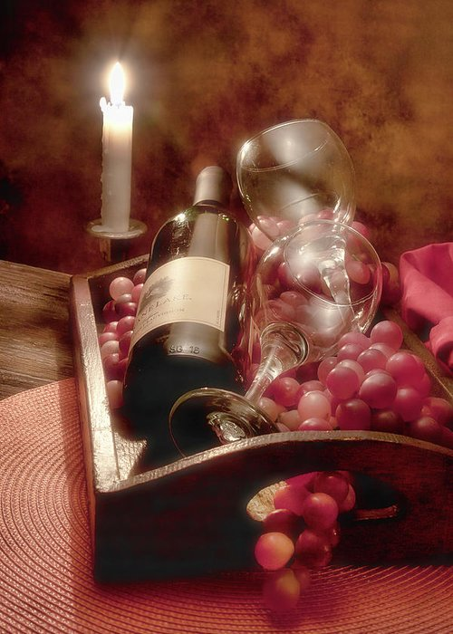 Alcohol Greeting Card featuring the photograph Wine By Candle Light II by Tom Mc Nemar
