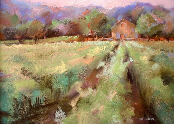 Vineyards Greeting Card featuring the painting Wine Country 2 by Joan Jones