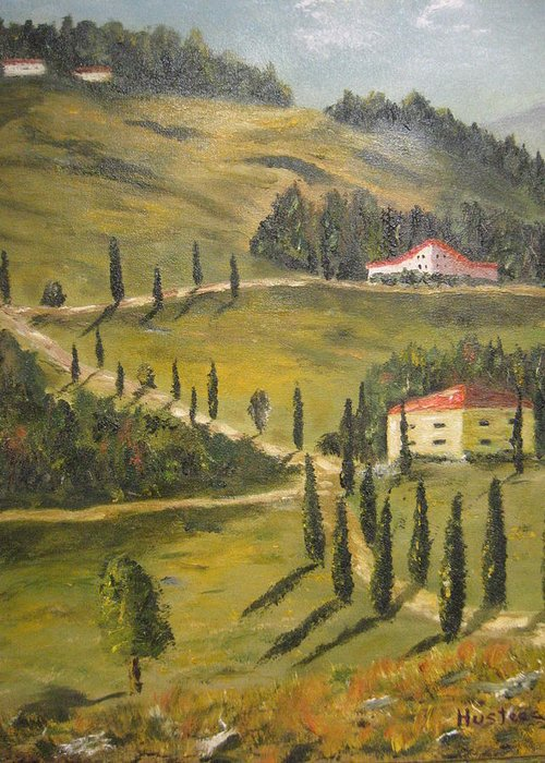 Greeting Card featuring the painting Wine Country by Brian Hustead