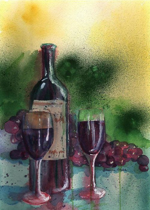 Wine Greeting Card featuring the painting Wine For Two by Sharon Mick