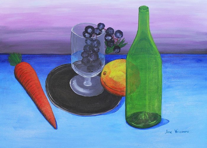 Acrylic Greeting Card featuring the painting Wine Glass And Fruits by M Valeriano