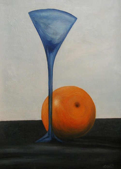 Still-life Greeting Card featuring the painting Wine Glass And Orange by Angelo Thomas
