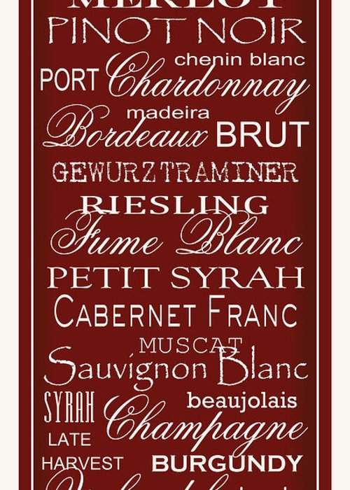 Wine List Greeting Card featuring the digital art Wine List Red by Rebecca Gouin