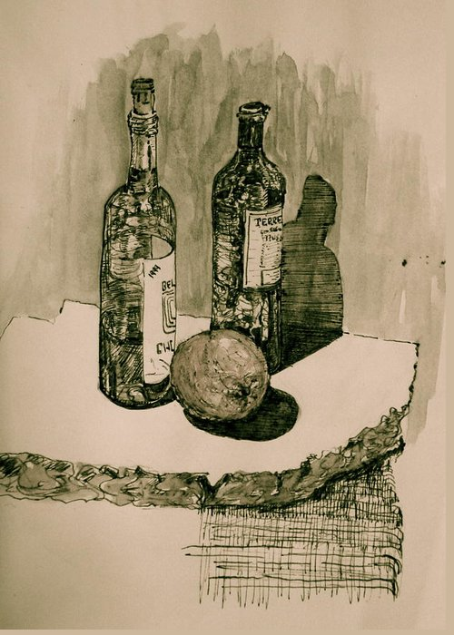 Landscape Greeting Card featuring the drawing Wine On The Rock by Dan Earle