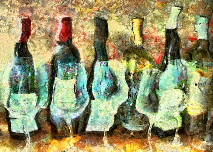 Wine Greeting Card featuring the mixed media Wine On The Town by Marilyn Sholin