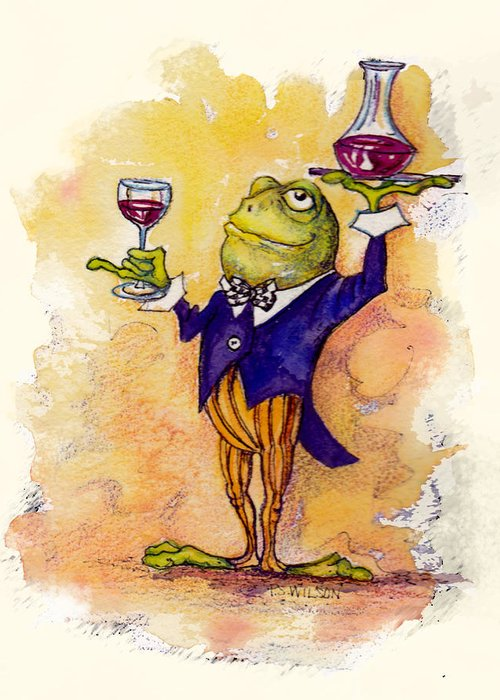 Wine Greeting Card featuring the mixed media Wine Steward Toady by Peggy Wilson
