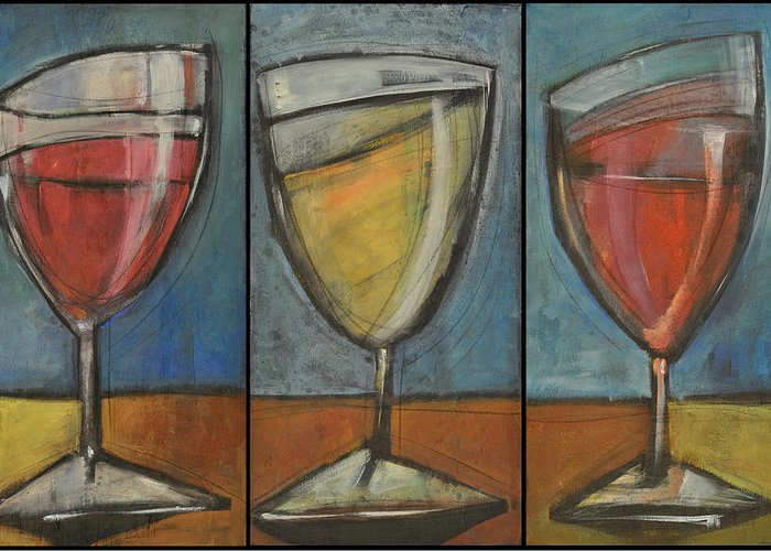 Wine Greeting Card featuring the painting Wine Trio Option 2 by Tim Nyberg