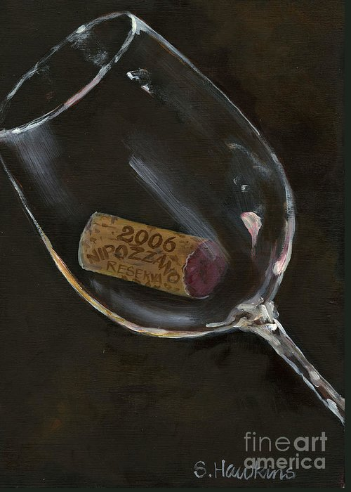 Wine Glass Greeting Card featuring the painting Wine With Dinner by Sheryl Heatherly Hawkins