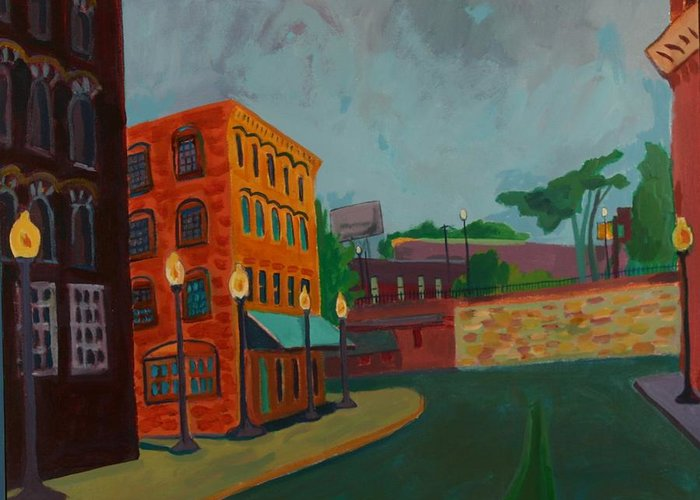 Cityscape Greeting Card featuring the painting Wingate Street by Debra Bretton Robinson