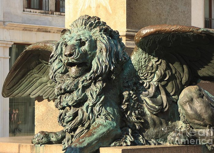 Venice Greeting Card featuring the photograph Winged Lion In Venice by Michael Henderson
