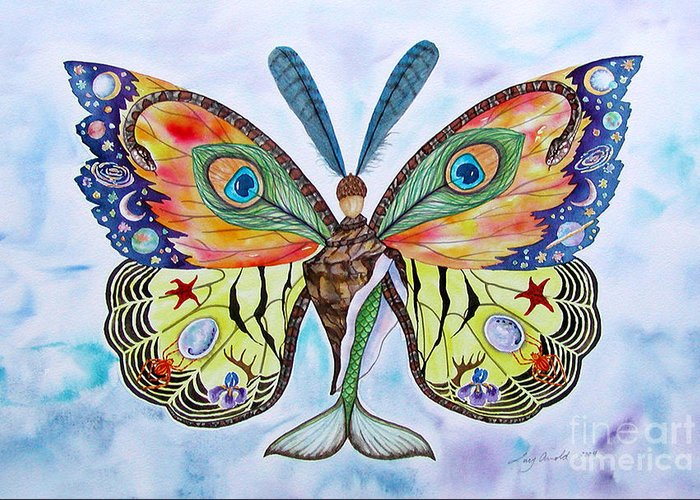 Butterfly Greeting Card featuring the painting Winged Metamorphosis by Lucy Arnold