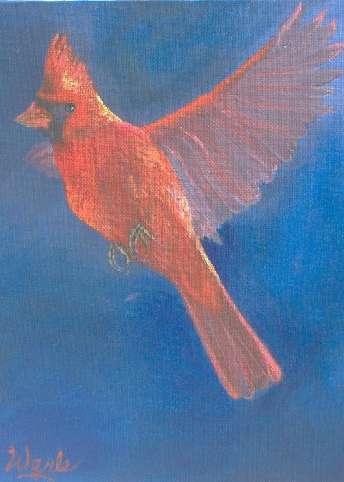 Cardinal Greeting Card featuring the painting Wings Of A Prayer by Bill Werle