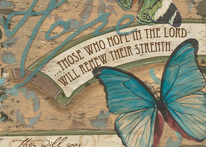 Butterfly Greeting Card featuring the painting Wings Of Hope by Debbie DeWitt