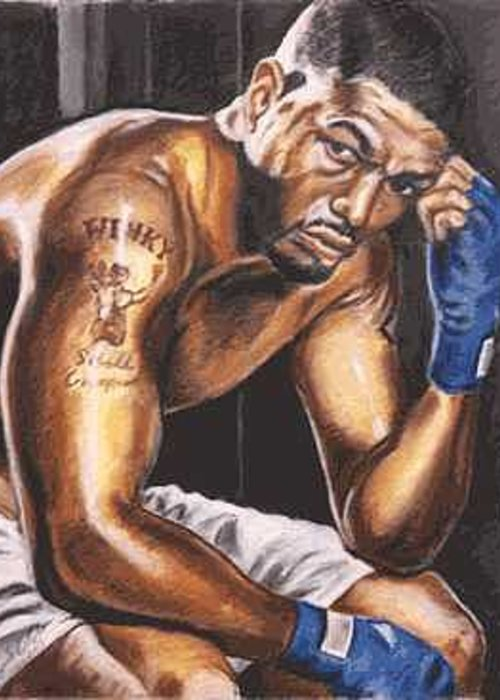 Boxer Greeting Card featuring the painting Winky Wright by Kenneth Kelsoe