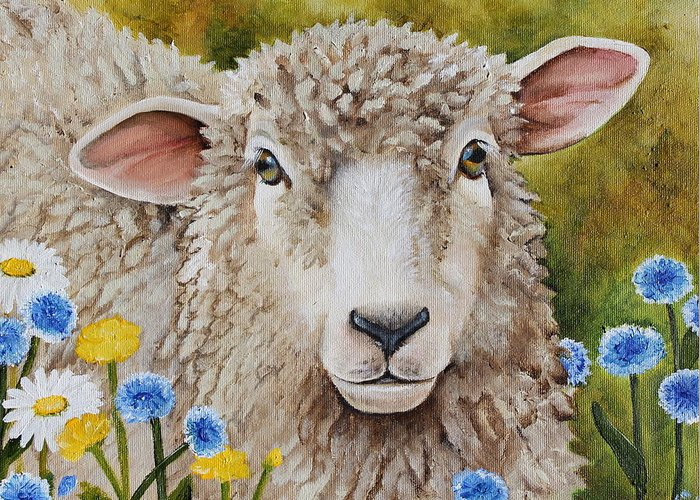 Sheep Greeting Card featuring the painting Winnie In The Wild Flowers by Laura Carey