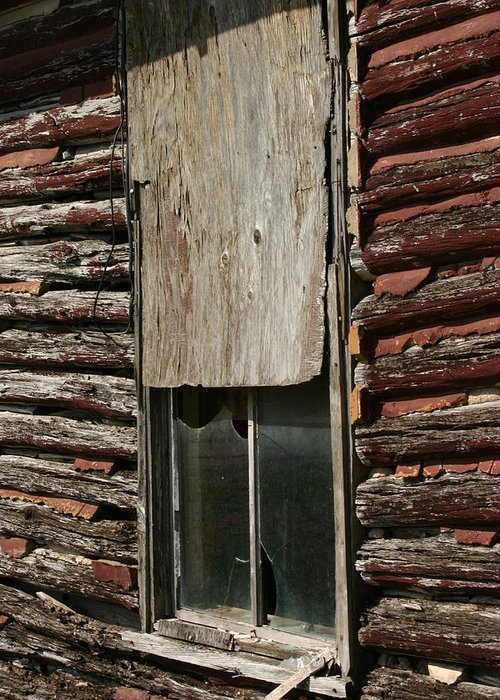 Greeting Card featuring the photograph Winslow Cabin Window by Curtis J Neeley Jr
