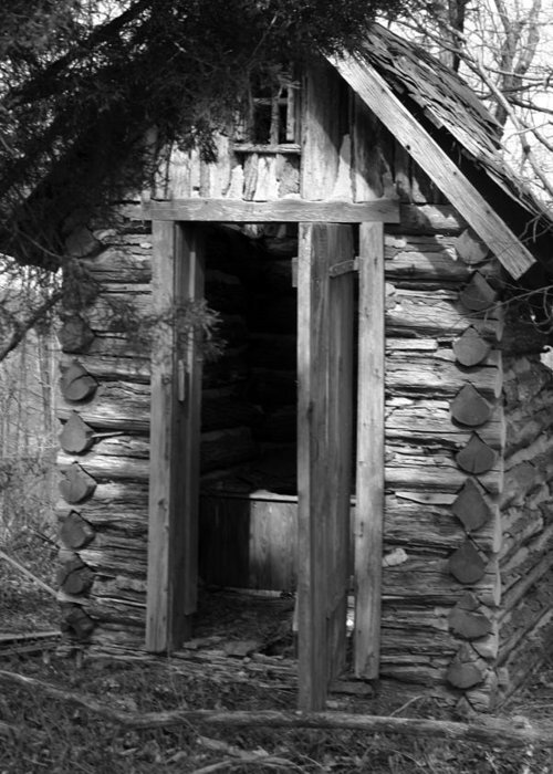 Ansel Adams Greeting Card featuring the photograph Winslow Log Outhouse by Curtis J Neeley Jr