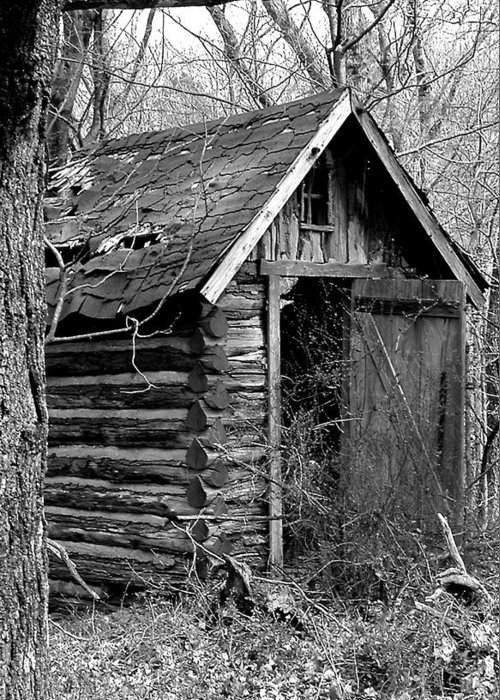 Ansel Adams Greeting Card featuring the photograph Winslowlogouthouse-11x17 by Curtis J Neeley Jr