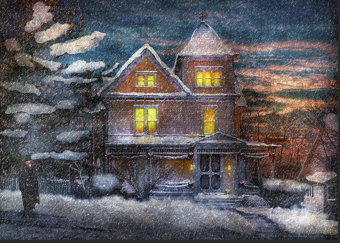 Hdr Greeting Card featuring the photograph Winter - Clinton Nj - A Victorian Christmas by Mike Savad