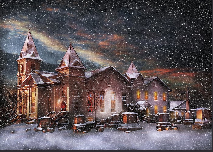 Hdr Greeting Card featuring the photograph Winter - Clinton Nj - Silent Night by Mike Savad