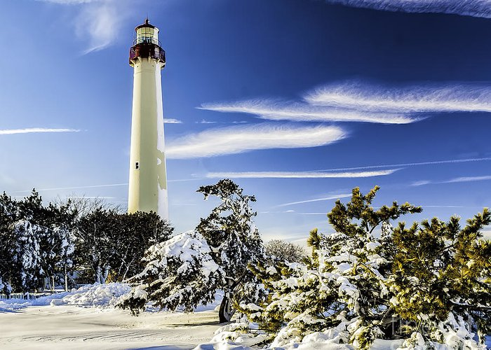 Beacon Greeting Card featuring the photograph Winter At Cape May Light by Nick Zelinsky