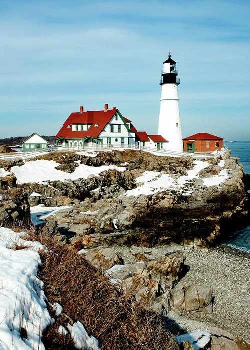 Coast Greeting Card featuring the photograph Winter At Portland Head by Greg Fortier