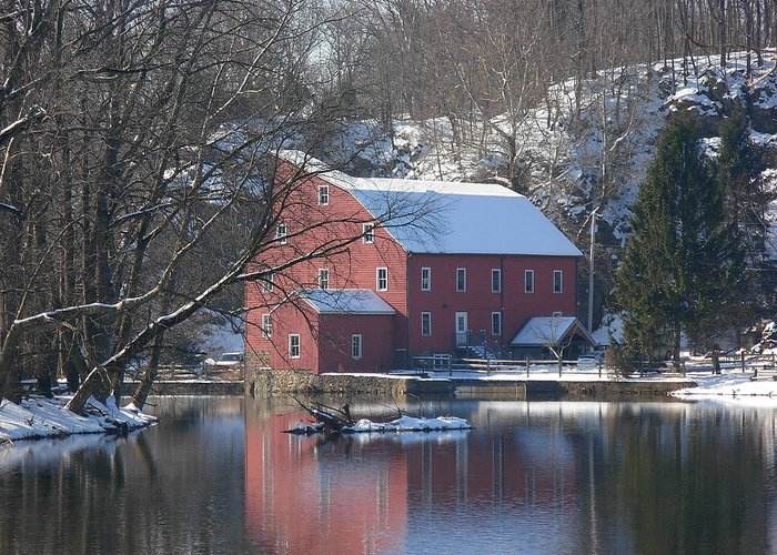 Clinton Mill Greeting Card featuring the photograph Winter At The Clinton Mill by Amanda Vouglas