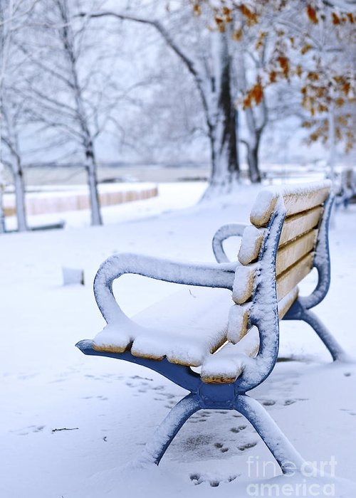 Winter Greeting Card featuring the photograph Winter Bench by Elena Elisseeva