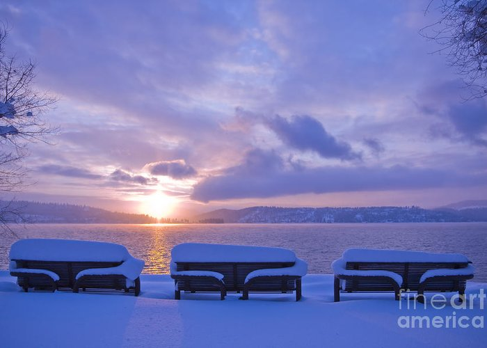 Lake Greeting Card featuring the photograph Winter Benches by Idaho Scenic Images Linda Lantzy