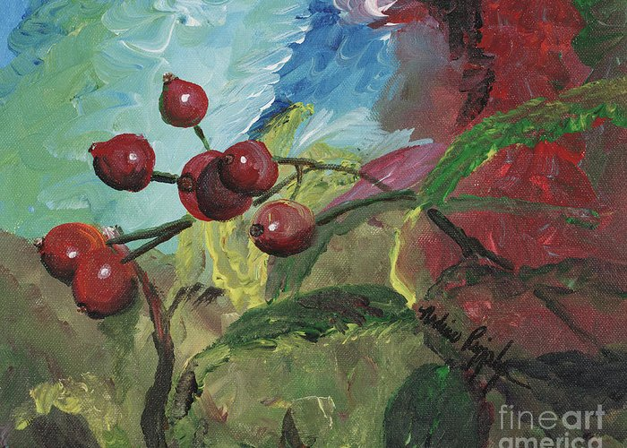 Berries Greeting Card featuring the painting Winter Berries by Nadine Rippelmeyer