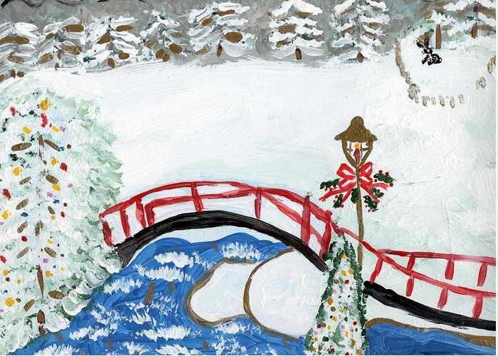 Winter Greeting Card featuring the painting Winter Bridge 1 by Rosemary Mazzulla