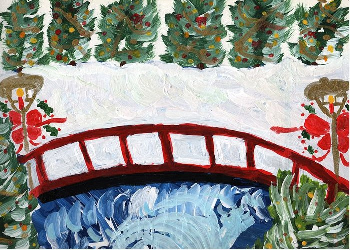 Winter Greeting Card featuring the painting Winter Bridge 2 by Rosemary Mazzulla