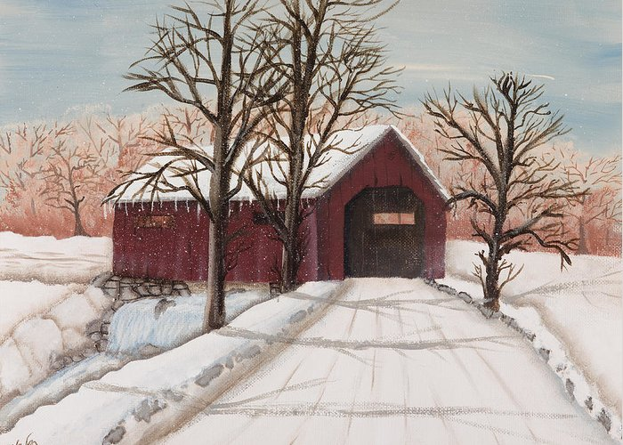 Landscape Greeting Card featuring the painting Winter Bridge by Julia Ellis