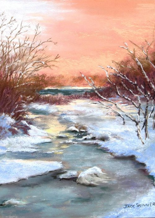 Winter Greeting Card featuring the painting Winter Brook by Jack Skinner