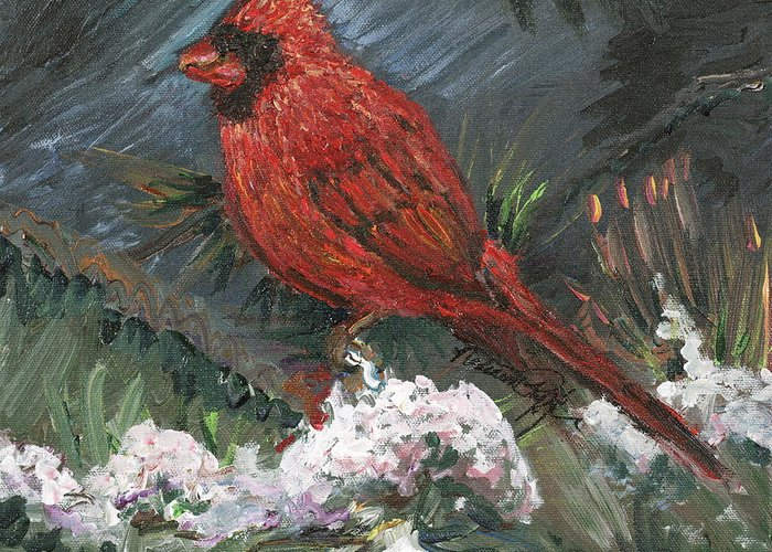 Bird Greeting Card featuring the painting Winter Cardinal by Nadine Rippelmeyer