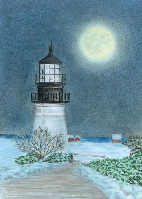 Lighthouse Greeting Card featuring the drawing Winter Coast by Troy Levesque