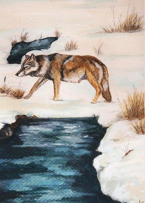 Coyote Greeting Card featuring the painting Winter Coyote by Debra Sandstrom