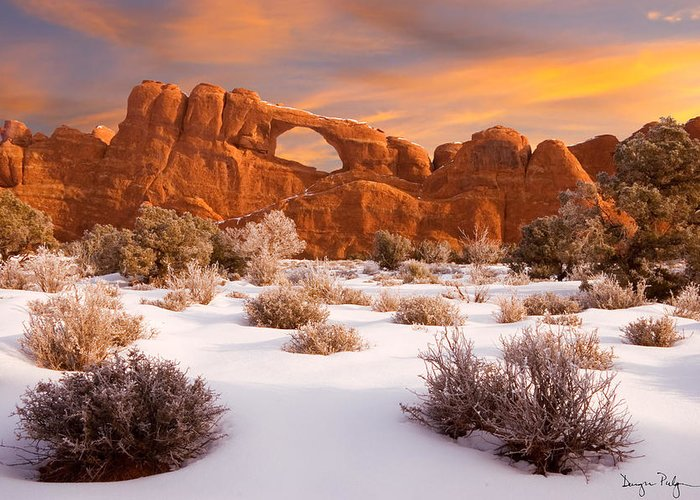 Arches National Park Greeting Card featuring the photograph Winter Dawn At Arches National Park by Utah Images