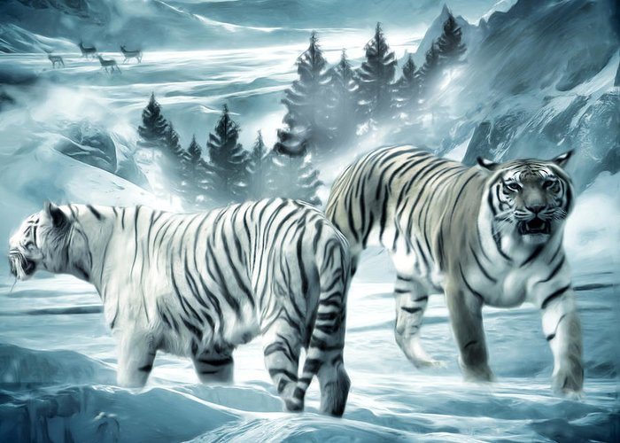 Tiger Greeting Card featuring the photograph Winter Deuces by Lourry Legarde