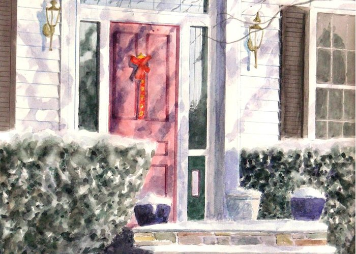 Snowy Front Door At Christmas Time. Greeting Card featuring the painting Winter Door by Joseph Stevenson
