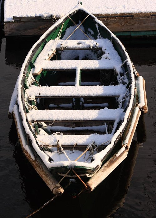 Seascape Greeting Card featuring the photograph Winter Dory by Doug Mills