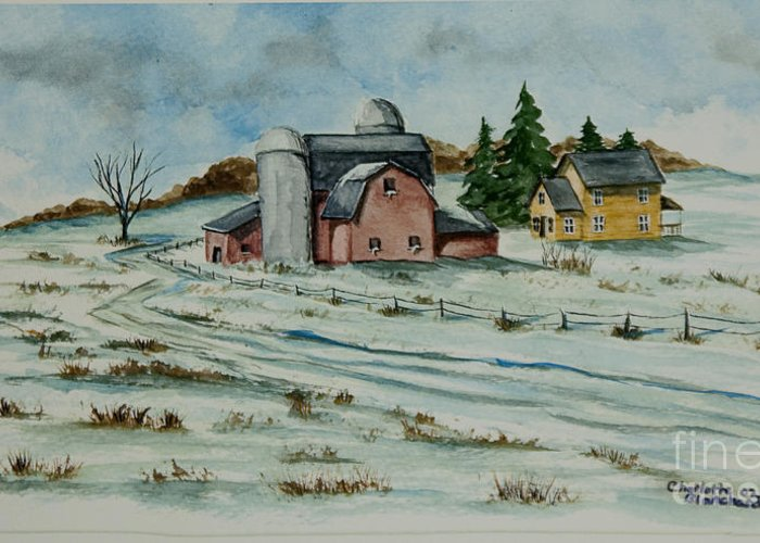Winter Scene Paintings Greeting Card featuring the painting Winter Down On The Farm by Charlotte Blanchard